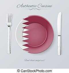 Authentic Cuisine of Qatar Plate with Qatari Flag and...