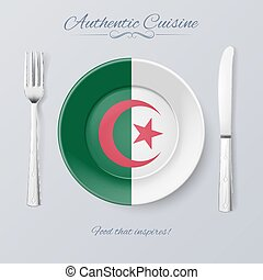 Authentic Cuisine of Algeria. Plate with Algerian Flag and...