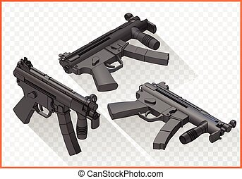 mp5 submachine gun isometric flat vector 3d illustration...