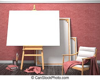 Mock up canvas frame with easy chair, easel, floor and red...