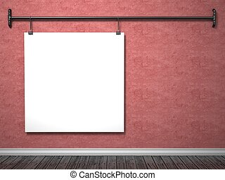 Mock up poster on red wall and pipe frame, 3D render...