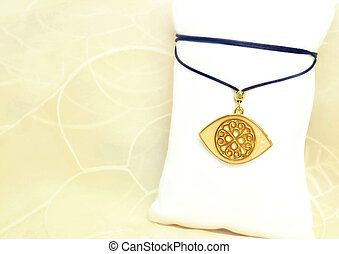 gold byzantine evil eye necklace - still life jewelry - gold...
