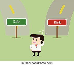 businessman confused choosing way