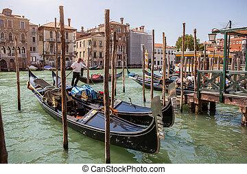 gondolas in Venice - Grand canal of Venice with gondolas,...