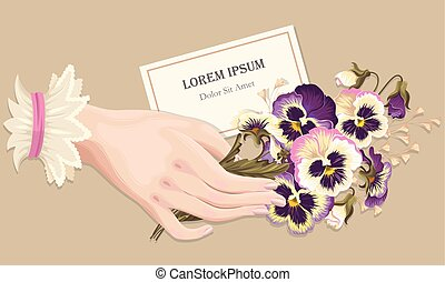 Illustration of hand with pansies - Vestor vintage...