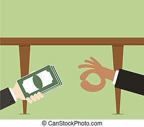 Businessmans hand giving money banknotes to each other...