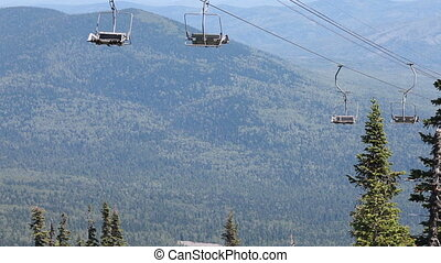 Chairlift, view from high mountain,