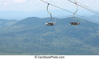 Chairlift, view from high mountain, - Chairlift, scenic view...