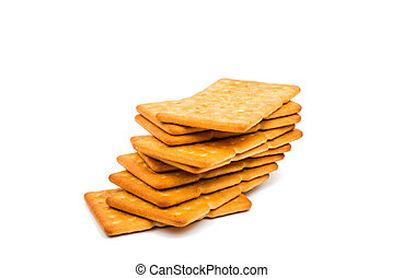 salty crackers on a white background