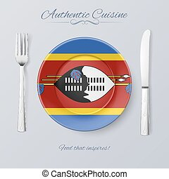 Authentic Cuisine of Swaziland Plate with Swazi Flag and...