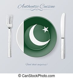 Authentic Cuisine of Pakistan Plate with Pakistani Flag and...