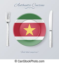 Authentic Cuisine of Suriname. Plate with Surinamese Flag...