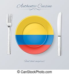 Authentic Cuisine of Colombia Plate with Colombian Flag and...