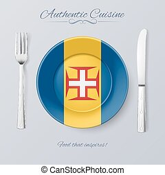 Authentic Cuisine of Madeira Plate with Flag and Cutlery