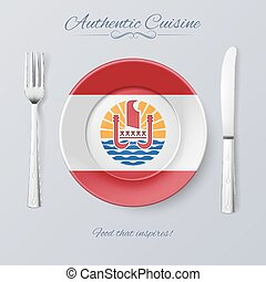 Authentic Cuisine of French Polynesia Plate with Flag and...