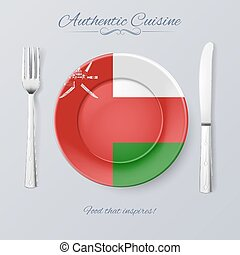 Authentic Cuisine of Oman. Plate with Omani Flag and Cutlery