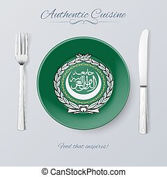 Authentic Cuisine of Arab League. Plate with Flag and...