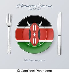 Authentic Cuisine of Kenya Plate with Kenyan Flag and...