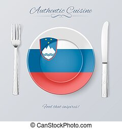 Authentic Cuisine of Slovenia. Plate with Slovene Flag and...
