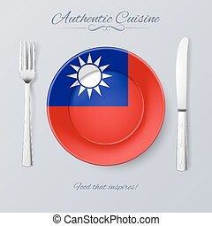 Authentic Cuisine of Taiwan Plate with Flag and Cutlery