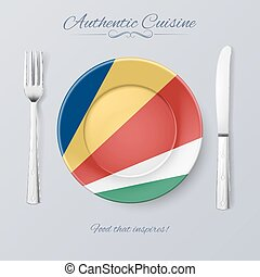 Authentic Cuisine of Seychelles. Plate with Flag and Cutlery
