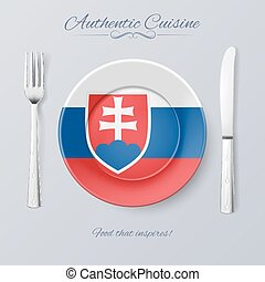Authentic Cuisine of Slovakia. Plate with Slovak Flag and...