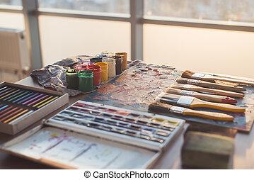 Palette with oil paints and gouache set Clean painter...