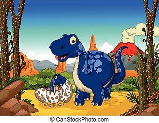 cute dinosaur cartoon with her baby