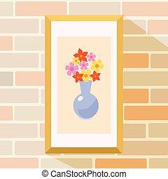 Flowers picture in frame