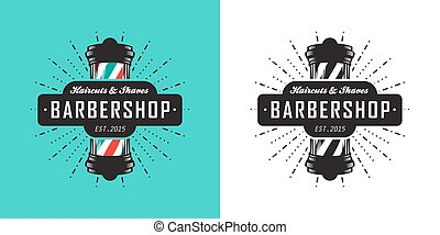 Barbershop icon - Hairdressing saloon icon with barber pole