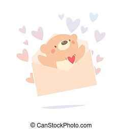 Teddy bear inside the love letter