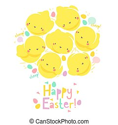 Easter card with chicks