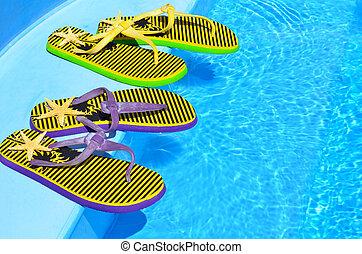 Cambia de dirección, en, el, natación, piscina
