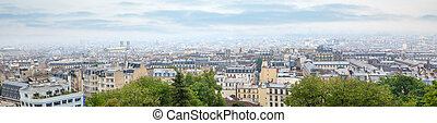 Roofs in residential quarter of Montmartre - Panorama of...