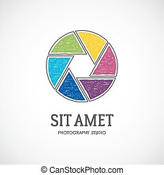 Retro photo lens logo template with multicolor shutter icon....