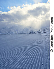 processed snowcat track, stripes on snow - processed snowcat...