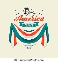 4th July Independence Day card with patriotic flag swag...