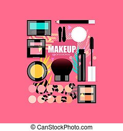 Makeup glam set - Makeup glamour flat style set