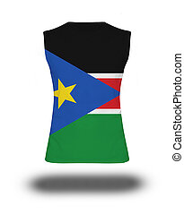 athletic sleeveless shirt with South Sudan flag on white...