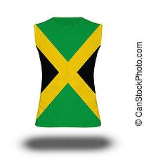 atlético, sin mangas, camisa, con, jamaica, bandera,...