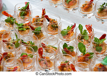 spicy salad with shrimp in thai style
