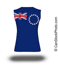athletic sleeveless shirt with Cook Islands flag on white...
