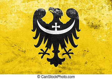 Flag of Lower Silesian Voivodeship, Poland, with a vintage...