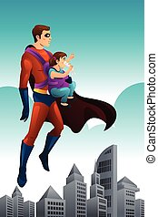 Superhero Holding a Little Girl