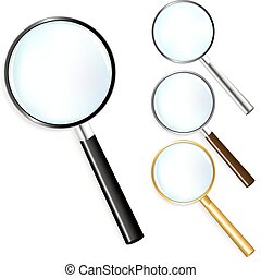 Set Of Magnifiers - Black, Golden, Silver and Brown...