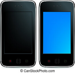 2 Mobile Phones Or Smartphones With Touchpades And Buttons,...