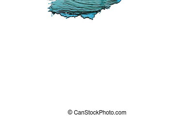 blue liquid pouring on white background - close-up view of...