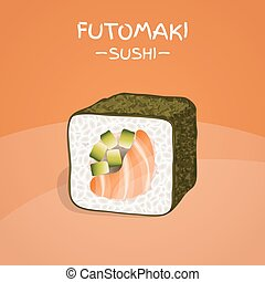 Futomaki Sushi Roll. Realistic style sushi with rice, salmon...