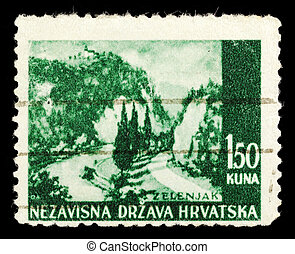 Old stamp from Croatia on a black background