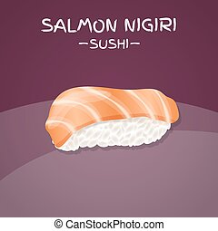 Salmon Nigiri Sushi. Realistic style sushi with rice and...